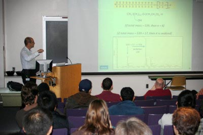 Researcher presenting at symposium