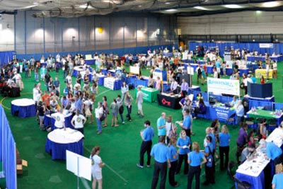 Students attending the Expo