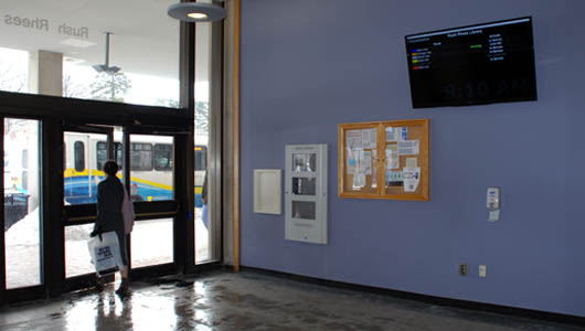 Students can track University shuttles while they wait in Rush Rhees Library