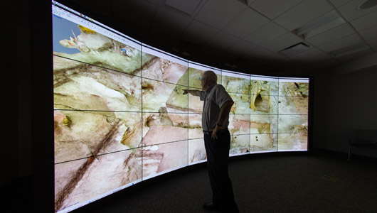 researcher viewing 3D archaeological model
