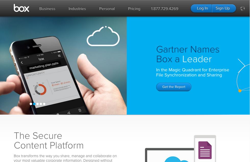 box homepage screenshot