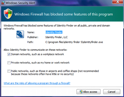 firewall warning screenshot