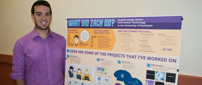 Students present their work at a poster session in August.