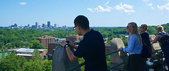 Interns get a unique view of the Rochester skyline while on a tour of the Rush Rhees Library tower.