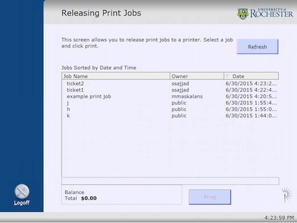 printing screenshot