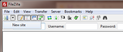 FileZilla menu screenshot