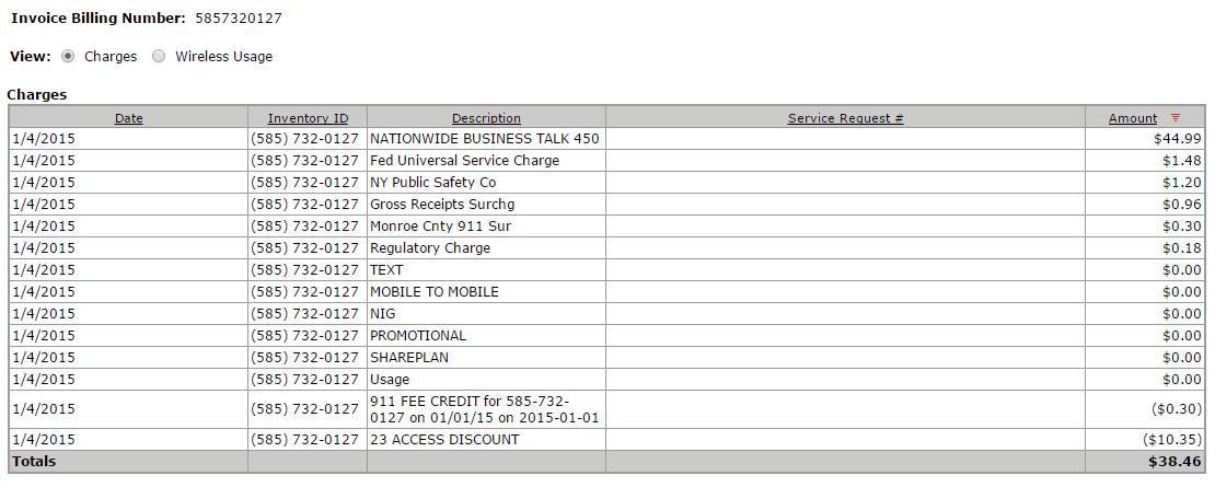 Expense statement screenshot