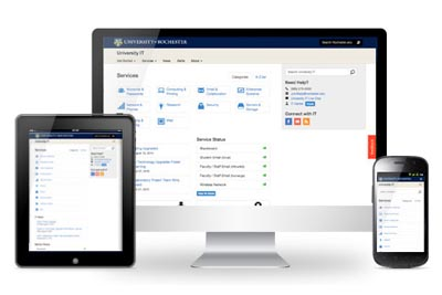 University IT website on 3 devices