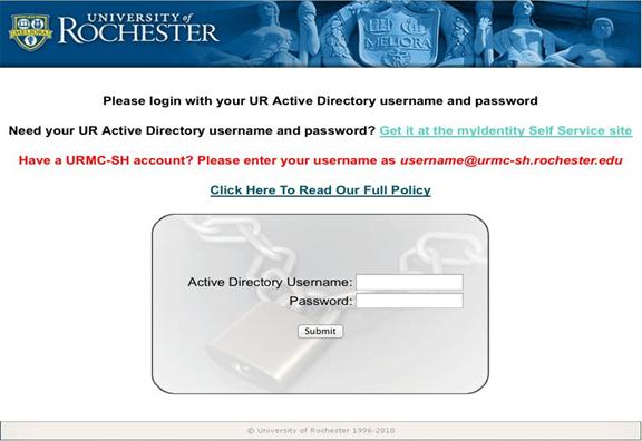 Network Registration login screen