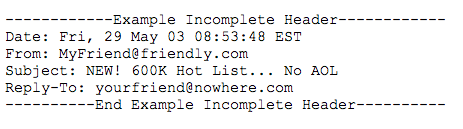 sample incomplete email header