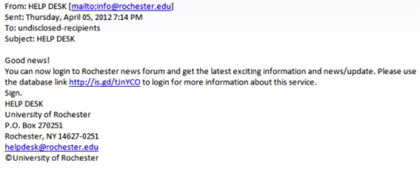 Sample phishing email