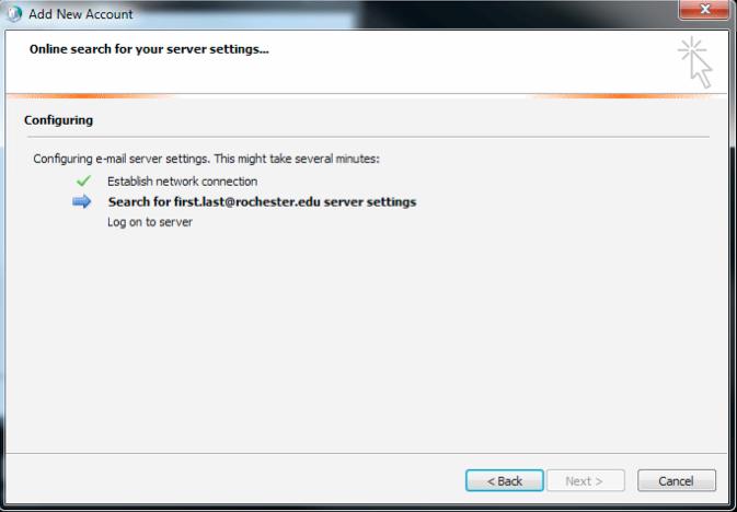 Outlook setup screenshot