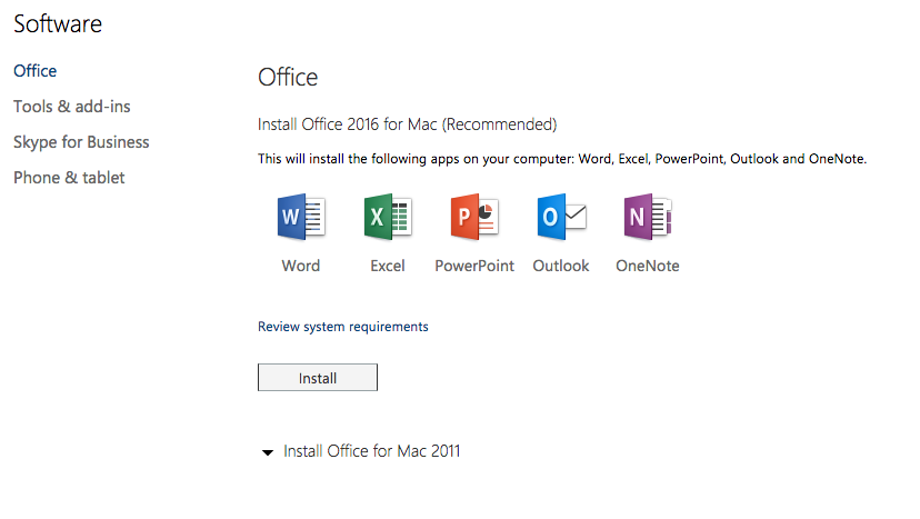 screenshot download Office 365 ProPlus on Mac